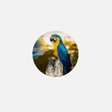 Beautiful Blue And Yellow Parrot Mini Button