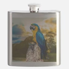 Beautiful Blue And Yellow Parrot Flask