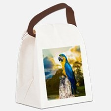 Beautiful Blue And Yellow Parrot Canvas Lunch Bag