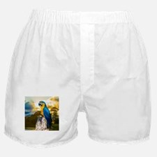 Beautiful Blue And Yellow Parrot Boxer Shorts