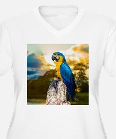 Beautiful Blue And Yellow Parrot Plus Size T-Shirt