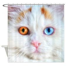 Odd-Eyed White Cat Shower Curtain