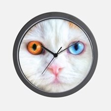 Odd-Eyed White Cat Wall Clock