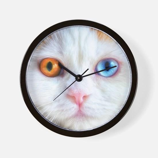 Odd-Eyed White Cat Wall Clock