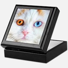 Odd-Eyed White Cat Keepsake Box