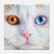 Odd-Eyed White Cat Tile Coaster