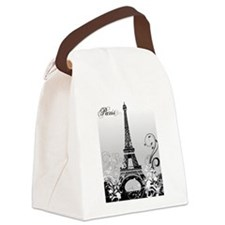 Eiffel Tower Paris (B/W) Canvas Lunch Bag