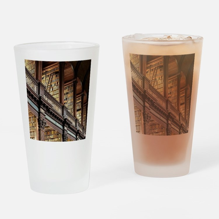 Cute Library Drinking Glass