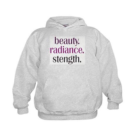 beauty.radiance.strength. Kids Hoodie