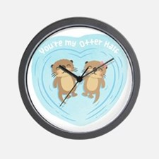 You are my otter half love pun humor Wall Clock