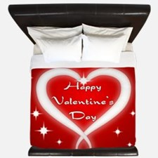 Red Happy Valentines Day King Duvet