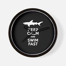 Sharks - Keep Calm, Swim Fast Wall Clock