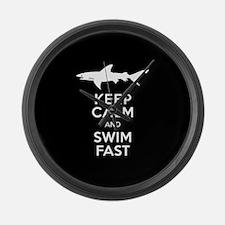 Sharks - Keep Calm, Swim Fast Large Wall Clock