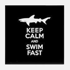 Sharks - Keep Calm, Swim Fast Tile Coaster