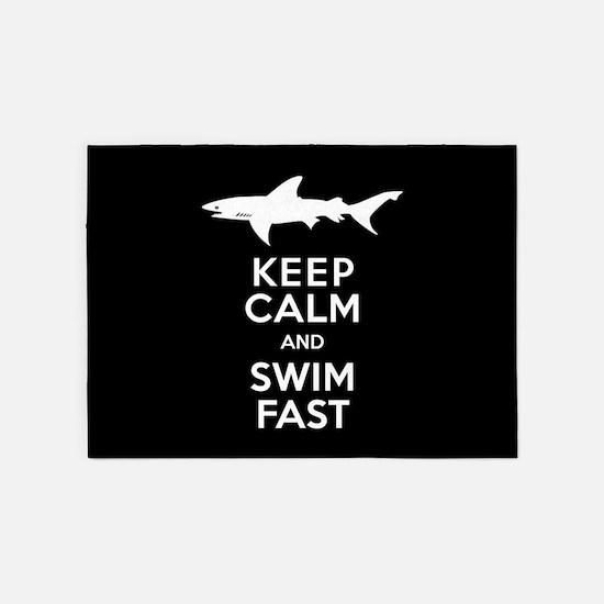 Sharks - Keep Calm, Swim Fast 5'x7'Area Rug
