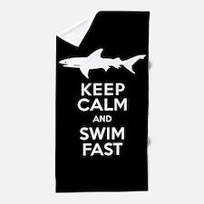 Sharks - Keep Calm, Swim Fast Beach Towel