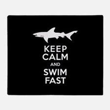 Sharks - Keep Calm, Swim Fast Throw Blanket