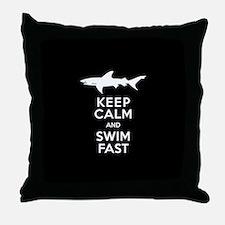 Sharks - Keep Calm, Swim Fast Throw Pillow