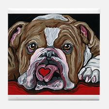 English Bulldog Valentine Tile Coaster