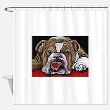 English Bulldog Valentine Shower Curtain