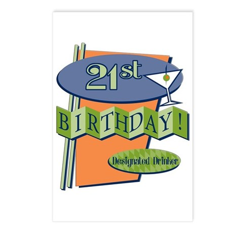 Retro 21st Birthday Postcards (Package of 8)