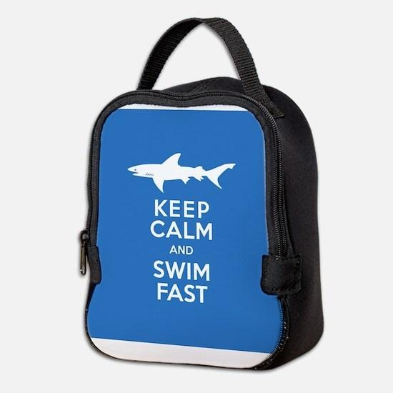 Keep Calm, Swim Fast Shark Aler Neoprene Lunch Bag