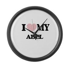 I Love my Abel (Heart Made from L Large Wall Clock