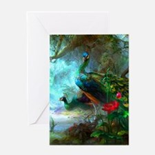 Beautiful Peacocks In Garden Greeting Cards