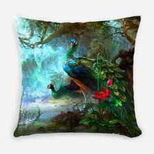 Beautiful Peacocks In Garden Everyday Pillow