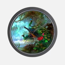 Beautiful Peacocks In Garden Wall Clock