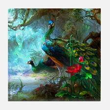 Beautiful Peacocks In Garden Tile Coaster