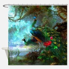 Beautiful Peacocks In Garden Shower Curtain