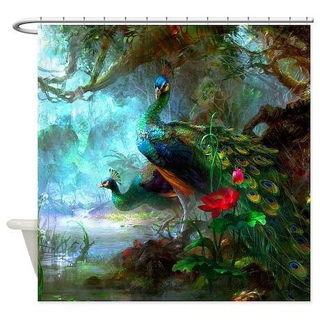 Beautiful Peacocks In Garden Shower Curtain