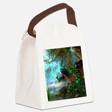 Beautiful Peacocks In Garden Canvas Lunch Bag