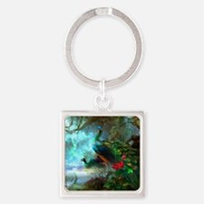 Beautiful Peacocks In Garden Keychains