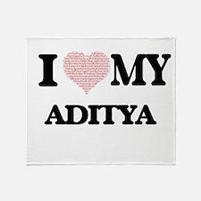 I Love my Aditya (Heart Made from Lo Throw Blanket