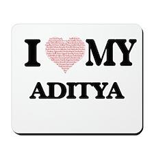 I Love my Aditya (Heart Made from Love m Mousepad
