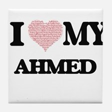 I Love my Ahmed (Heart Made from Love Tile Coaster