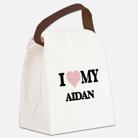 I Love my Aidan (Heart Made from Canvas Lunch Bag