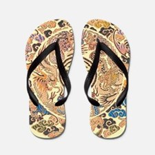 gold kimono chinese dragon Flip Flops