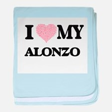 I Love my Alonzo (Heart Made from Lov baby blanket