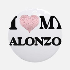 I Love my Alonzo (Heart Made from L Round Ornament