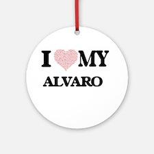 I Love my Alvaro (Heart Made from L Round Ornament