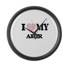I Love my Amir (Heart Made from L Large Wall Clock