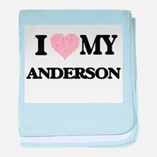 I Love my Anderson (Heart Made from L baby blanket