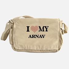 I Love my Arnav (Heart Made from Lov Messenger Bag
