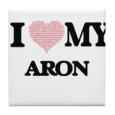 I Love my Aron (Heart Made from Love Tile Coaster