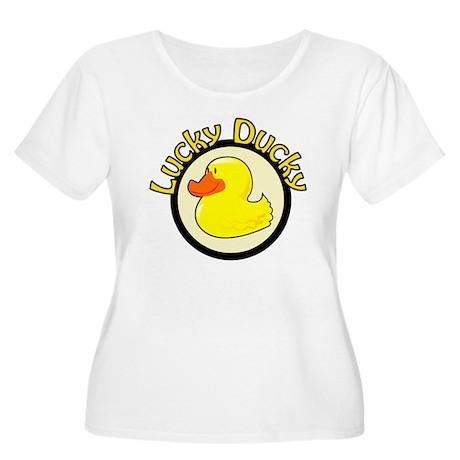 Lucky Ducky Women's Plus Size Scoop Neck T-Shirt