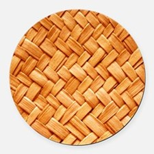 WOVEN STRAW Round Car Magnet
