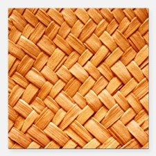 """WOVEN STRAW Square Car Magnet 3"""" x 3"""""""